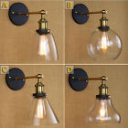 Permo Industrial Style Clear Glass Wall Lamp Antique Brass Vintage Sconce 6653H