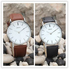 Quartz Movement PU Leather Watches Oversize Round Dial Men Women Couple's Watch^