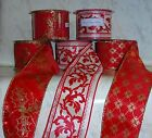 """NEW Ribbon CHOOSE Wired Edge Red with Gold or White 30' Feet 2 1/2"""" Wide Holiday"""