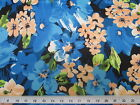 Discount Fabric Printed Lycra Spandex Stretch Turquoise Blue Bold Floral 401B