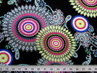 Discount Fabric Printed Spandex Stretch Sunflower Lime Pink and Blue 402D
