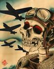 Pilot by 2 Cents War Airplanes Skull Tattoo Design Artwork Canvas Fine Art Print