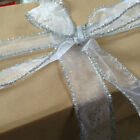 SILVER SPECKLES & TINSEL Organza Christmas - Luxury Wire Edge Ribbon *NEW 2016*