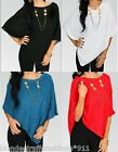 *2 Colors* Select-Teal or Red Shimmer Poncho Drape Shawl/Wrap/Cover-Up