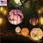 DIY New Halloween LED Paper Pumpkin Hanging Lantern - Holiday Party Decor Scary