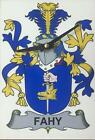 Your COAT OF ARMS Crest on stylish Wooden CLOCK - HEFFERAN to HESSION