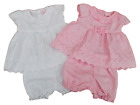 BNWT Baby girls pink or white broderie anglaise summer dress knickers with rose