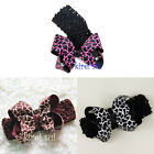 Halloween Xmas Baby Girl Giraffe Bow Crochet Headband Hair Bow Black Brown Pink