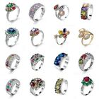 Platinum Retro Rings Fashion Jewelry Copper Colorful Women Gifts Wedding