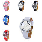 Classical Mickey Shape Women Watch Transparent Hollow Dial Leather Kids 6Color