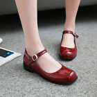 Vintage Womens Chic Ankle Strap Flat British Mary Jane Shoes Low Heel Shoes Plus