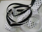 Black & White Polka Dots (grosgrain) & Stitches DUO - Luxury Wire Edged Ribbon