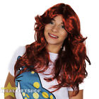LADIES FLICK WIG 70'S AUBURN WAVY RED GINGER WOMEN FANCY DRESS COSTUME ACCESSORY