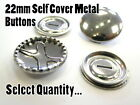 22mm Metal Self Cover Buttons Brass Silver Fashion Snap Blank Buttons