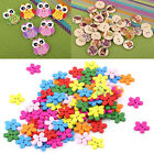 100pcs Flower Owl Letter 2 Holes Wood Wooden Button DIY Sewing Scrapbook Craft