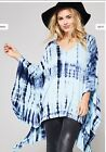 NWT Trendy Boutique Designer Oversized Tie Dye Blue Cover Up Poncho Top S M L