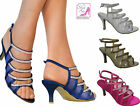 LADIES DIAMANTE STRAPPY LOW HEEL ANKLE STRAP SLINGBACK SANDALS SHOES SIZES 3-9