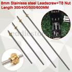 T8x2 8mm Lead Screw + Nut CNC Trapezoidal Acme Threaded Rod 600MM For 3D Printer