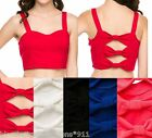 Strappy Open Bow Back Sweetheart Cropped Sporty/Sport Tank Top