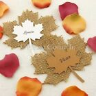 DIY Personalised Burlap Maple Leaves Rustic Autumn Themed Wedding Place Cards