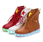 US4-12 Womens LED Night USB Charge Shoes Platform Creepers Sneakers Ankle Boots