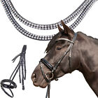 HKM Starlight Black Leather Diamante Padded Bridle & Reins | Pony Cob Full