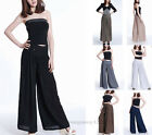 New Womens LadiesCasual Loose High Waist Wide Leg Trousers Long Pants Palazzo