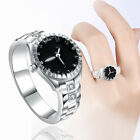 Women's Fashion Jewelry Silver Plated White Wedding Engagement Mini Watch Ring