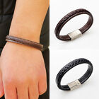 Gothic Unisex's Punk Leather Titanium Stainless Steel Buckle Braided Bracelet