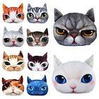 Stuffed Plush 3D Cute Cat Face Throw Pillows Case Home Decor Cushion Cover Toy D