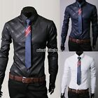 HOT Men  Luxury Casual Formal Shirt Long Sleeve Slim Fit Business Dress Shirts