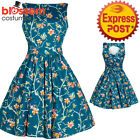 RKL41 Lady Vintage London Turquoise Blue Birds Tea Dress 50s Retro Rockabilly