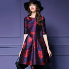Spring/Autumn Elegant Womens 1/2 Sleeve High-end Floral Prom Cocktail Mini Dress