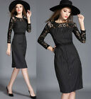 Spring/Autumn Fashion Womens Long Sleeve Lace Matching Striped Commuter OL Dress