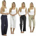 Ladies Ribbed Back, 3/4, Linen Trousers Summer Beach Holidays Size 10-18 Cropped
