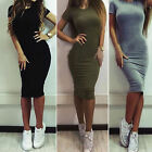 Fashion Women Short Sleeve Solid Bodycon Tunic Midi Dress Party Evening Cocktail