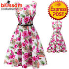 K331 Pink Flower Retro Rockabilly Vintage Party 50s Swing Dress Evening Pin Up