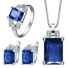 Princess Blue Sapphire 925 Silver Crystal Earrings Necklace Ring 1 Set Jewelry