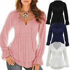 Plus Size Womens Long Sleeve Off Shoulder Lace Up T-Shirt Casual Tops Blouse Tee