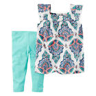 New Carter's 2 Piece White Paisley Printed Babydoll Top with Blue Capr - Toddler