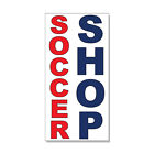 soccer shop - Soccer Shop Red Blue DECAL STICKER Retail Store Sign