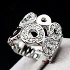 White Gold Plated Clear Women Circle Wrap Ring Made With Swarovski Crystal R172