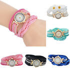 Fashion Women 3 Braid Leather Bracelet Quartz Analog Girls Casual Wrist Watches