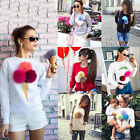 Women Long Sleeve Plush Pom Pom Ball Sweater Pullover Hoodies Jumper Top T-Shirt