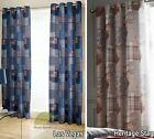 """Readymade Eyelet Ring Top Curtains Pair Tartan Checked Fully Lined 66 x 72"""" New"""