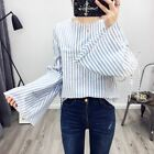New Womens Blue/Pink Striped Print Trumpet Sleeve Pullover Blouse Tops Shirt