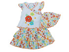 BNWT Baby girls orange and white flower summer top  skirt and hat outfit 3-6 mth