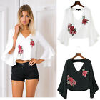2017 Women Deep V-neck Flare Sleeve Embroidery Rose Blouse Ladies T-Shirt Tops