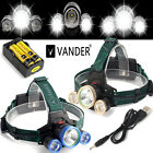Vander Gold / Blue LED Headlamp Waterproofing + 2x 18650 Battery + 3x Charger