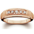 Men's Natural Diamond Brushed & Polished Ring 14K Rose Gold